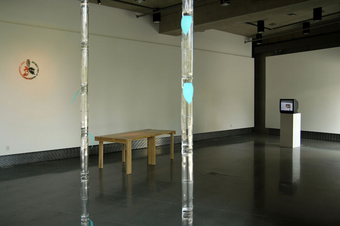 Installation View: Judith Hopf, Detroit Tree of Heaven Woodshop, and Leslie Thornton and Ron Vawter